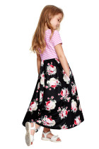 Sort Stripet Floral Print Little Girls Maxi Dress
