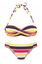 Gelbe Boho-Streifen drücken Bikini-Set hoch