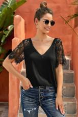 Sort sød side-blonder Deep V Neck Top T-shirt