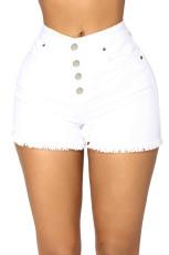 Белые джинсовые шорты с высокой талией