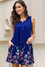 Mavi Mürettebat Yaka A-Line Günlük Sahil Çiçekli Elbise
