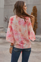Red Tie Dye V Neck Top