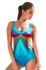 스카이 블루 3D 패턴 스포츠 타이츠 수영복