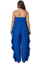 Cobalt Blue Prime Dreams Plus Size Strapless Ruffle Jumpsuit