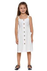 Hvit liten jente Spaghetti Strap Button Kjole med lommer