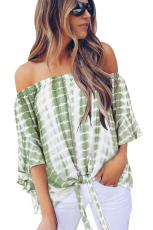 Green Tie Dye Plaid Off Shoulder Blouse