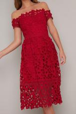 Red Off Shoulder Lengan Pendek Crochet Party Dress