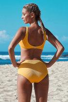 Gul knut beskuren bikiniuppsättning