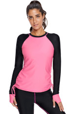 Rosy Black Colorblock Long Sleeve Rashguard