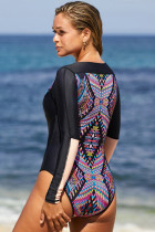 Lila Aztec Print Badkläder i ett stycke