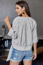 Chemise boutonnée à rayures grise