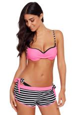 핑크 주름이 잡힌 브래지어 스트라이프 비키니 밑면 수영복
