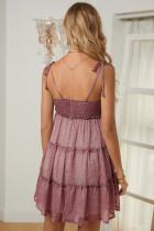 Gaun Bunga Mengacak-acak Layered A-line Pink