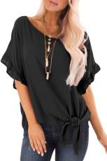 Zwarte blouse met ruches en mouwen met knot aan de voorkant