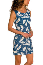 푸른 잎 프린트 탱크 드레스