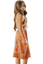 Floral Orange Swing Dress with Hidden Pockets