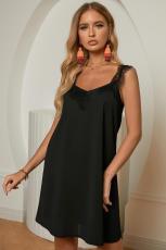 블랙 V 넥 레이스 어깨 민소매 미니 드레스