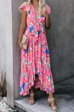 Vestido largo con lazo y bolsillos bajos florales de Rose