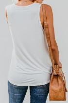 Biały damski top bez rękawów z wielokolorową kieszenią