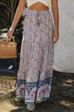 Blå Boho Blomsterprint Elastisk høj talje plisseret en linje Maxi nederdel