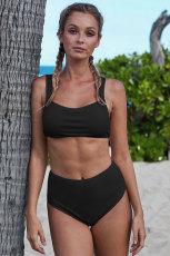 Svart ribbet strikket Sports Bh Bikinisett med høyt midje