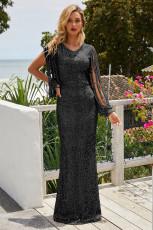 黒いスパンコールフリンジスリーブパーティーマキシイブニングドレス