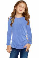Top lateral abotonado de manga larga azul cielo para niñas