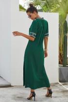 الأخضر البوهيمي الأزهار طباعة سبليت فستان ماكسي