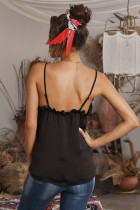 Black V-Neck Ruffle Adjustable Spaghetti Strap Tank Top