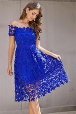 Modré Off Rameno Krátký rukáv Háčkování Party šaty