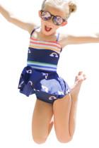 Rainbow Stripes Print Peplum Pikkutyttöjen uimapuku