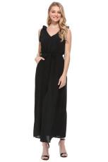 Czarna dżersejowa sukienka z paskiem na ramiączkach