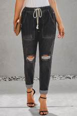 Zwart Verzamel Rond Distressed Pocketed Denim Jogger