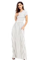 Серое полосатое платье макси с коротким рукавом из слоновой кости