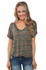 Green Get The Party Started Striped Pocket Tee