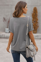Gray Plain Short Sleeve Twist Tee