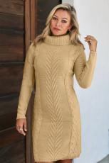 カーキハンドニットハイネックセータードレス