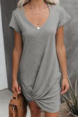 Grå klar skies Jersey Twist T-shirt klänning