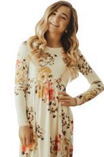 꽃 무늬 흰색 스윙 드레스 숨겨진 포켓