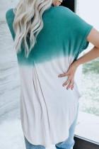 Sininen Valkoinen Ombre -värinen lohko rento kesäpaita
