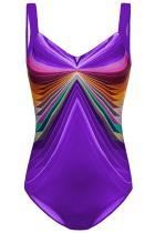 보라색 3D 패턴 스포츠 타이츠 수영복