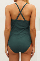 Green Ribbed Snap Front One-piece Maternity Swimsuit