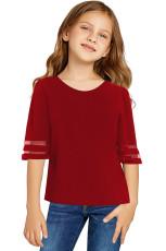 Blusa con panel de malla de manga campana 3 / 4 de Red Girl