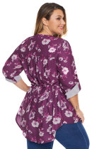 Rose Floral Pintuck Plus Size Bluse