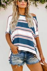 Blau Weiß Rosa Farbe Gestreiftes Print Loose Shirt