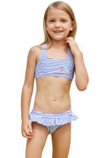 Blå Nautiske Striper Småbarn Jenter Bikini Badetøy