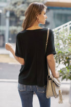 Black Plain Short Sleeve Twist Tee