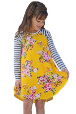 Musim Semi Kuning Fling Floral Striped Sleeve Short Dress untuk Anak-Anak