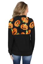 1 / 4 Zip Halloween Labu Pullover Kaus Lengan Panjang