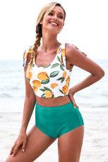 Pomarańczowy nadruk na ramiączkach, kostium kąpielowy Tankini